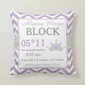 Purple Gray Crown Baby Announcement Pillow Throw Cushions