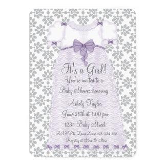Purple Gray Damask Baby Girl Shower 13 Cm X 18 Cm Invitation Card