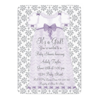 Purple Gray Damask Baby Girl Shower Card