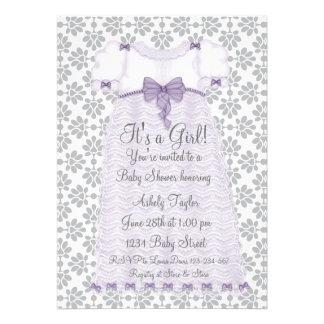 Purple Gray Damask Baby Girl Shower Custom Announcement
