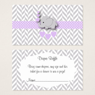 Purple Gray Elephant Baby Shower Diaper Raffle Business Card