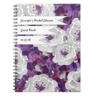 Purple Gray Floral Bridal shower guest book