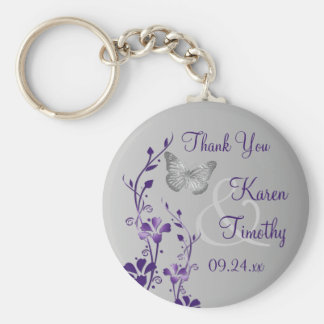Purple, Gray Floral Butterflies Wedding Favor Basic Round Button Key Ring