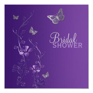 "Purple Gray Floral Butterfly Bridal Shower Invite 5.25"" Square Invitation Card"
