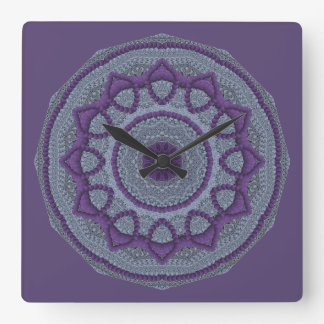 Purple Gray Mandala Square Wall Clock