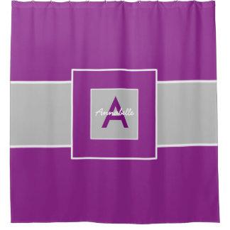 Purple gray monogram personalized shower curtain