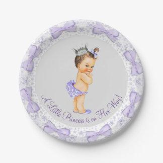 Purple Gray Princess Baby Shower 7 Inch Paper Plate