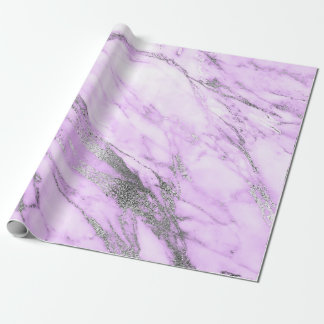 Purple Gray Silver White Marble Shiny Glam Wrapping Paper