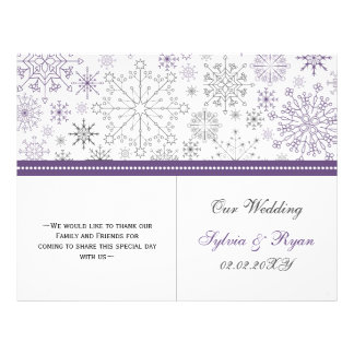 purple gray snowflake bi fold Wedding program Flyer