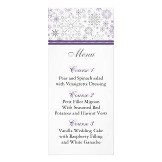 purple gray snowflake winter wedding menu cards rack cards