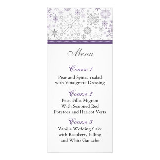 purple gray snowflake winter wedding menu cards custom rack cards