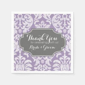 Purple Gray Vintage Damask Wedding Thank you Disposable Serviettes