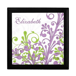 Purple Green Abstract Floral Personalized Large Square Gift Box