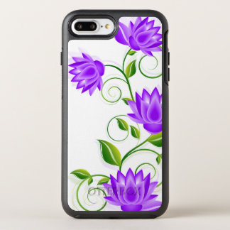 Purple & Green Abstract Flowers Illustration OtterBox Symmetry iPhone 8 Plus/7 Plus Case