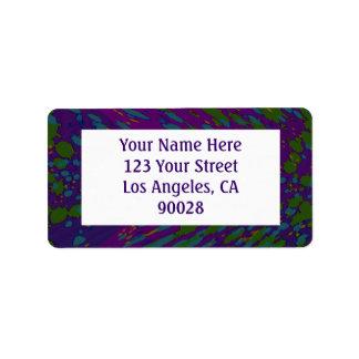 purple green abstract address label