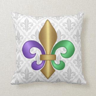 Purple Green and Gold Mardi Gras Fleur de Lis Cushion