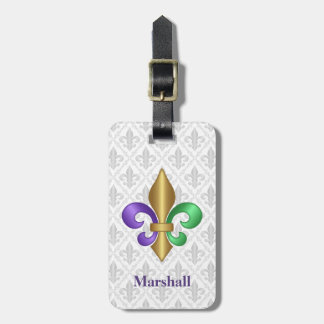 Purple Green and Gold Mardi Gras Fleur de Lis Luggage Tag