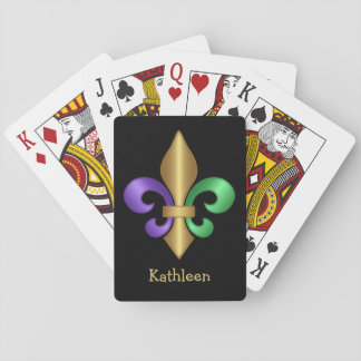 Purple Green and Gold Mardi Gras Fleur de Lis Playing Cards