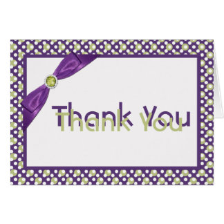 Purple, Green, and White Thank You Note Card