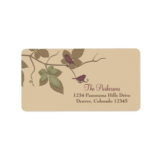 Purple Green Birds Leaves Fall Wedding Address Label