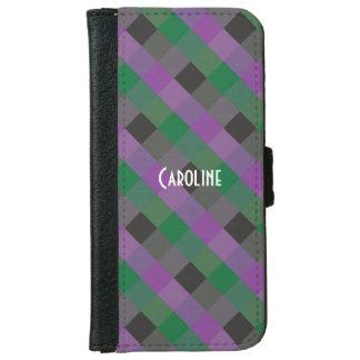Purple Green Black Gingham Pattern custom Name iPhone 6 Wallet Case