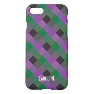 Purple Green Black Gingham Pattern custom Name iPhone 8/7 Case