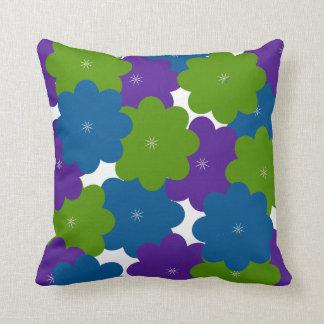 Purple, Green & Blue Floral Decor Throw Pillow
