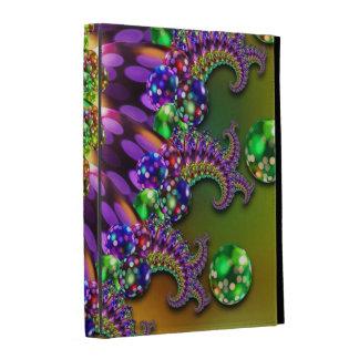 Purple Green Bokeh Fractal Pattern iPad Cases