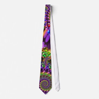 Purple & Green Bokeh Fractal Pattern Tie