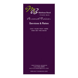 Purple Green Bold Initial Business Services Card Full Colour Rack Card