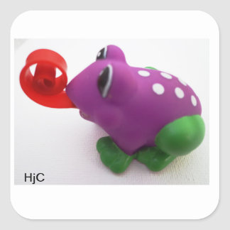 purple green cheeky frog stickers