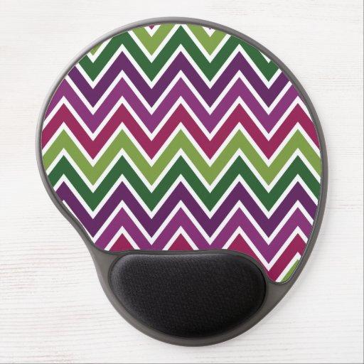 Purple & Green Chevron Stripe Gel Mousepad