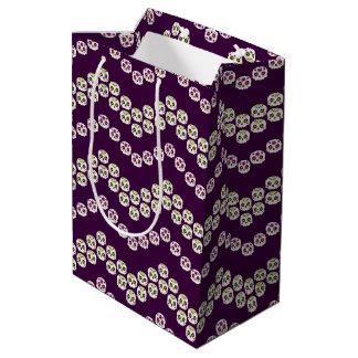 Purple & Green Chevron Sugar Skulls Medium Gift Bag