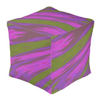 Purple Green Color Abstract Design Pouf
