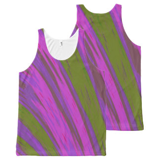 Purple Green  Color Swish All-Over Print Singlet