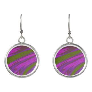 Purple Green Color Swish Earrings