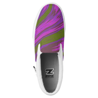 Purple Green  Color Swish Slip-On Shoes