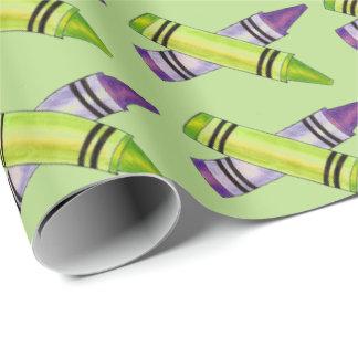 Purple Green Crayon Art Teacher Artist Gift Wrap