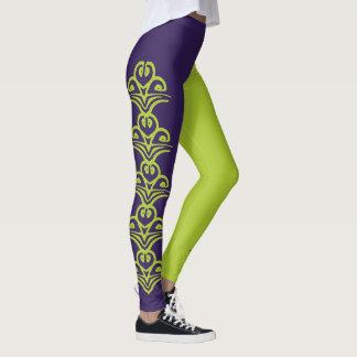 Purple & Green Deco Reversi Jester Leggings