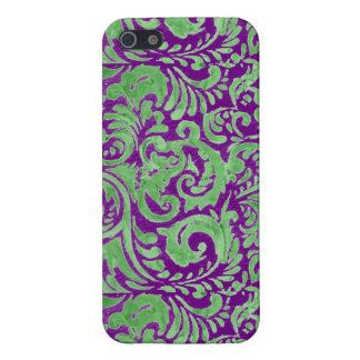 Purple Green Floral Batik iPhone 5/5S Cases