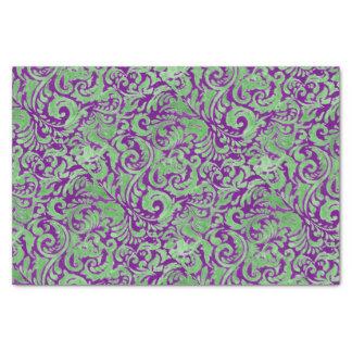 Purple Green Floral Batik Tissue Paper