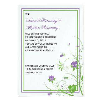 Purple Green Floral Swirls Post Wedding Celebratio Card