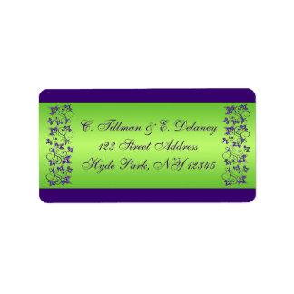 Purple, Green Floral Wedding Address Label 2