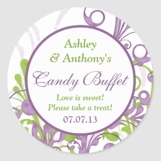 Purple Green Floral Wedding Candy Buffet Stickers