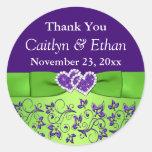 Purple, Green Floral Wedding Favour Sticker