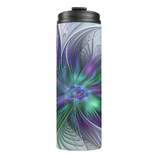 Purple Green Flower Modern Abstract Art Fractal Thermal Tumbler