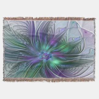Purple Green Flower Modern Abstract Art Fractal Throw Blanket