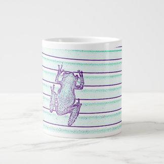 purple green frog design on stripes jumbo mug