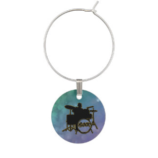 Purple Green Glitter Music Drummer Wine Charm