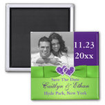 Purple, Green Joined Hearts Save the Date Magnet